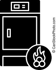 Solid fuel boiler glyph icon. Silhouette symbol. House central heater. Firewood boiler. Heating system. Negative space. Vector isolated illustration