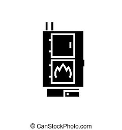 solid fuel boiler - pellet stove icon, vector illustration,...