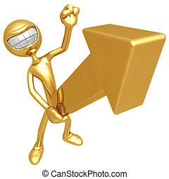 Solid Gold Upward Market Arrow - 3D Concept And Presentation...