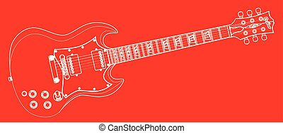Solid Guitar Outline - A solid body electric guitar in white...