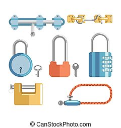 Solid locks and latches isolated cartoon illustrations set -...