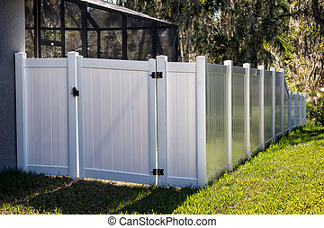 Solid Privacy Vinyl Fence With Gate - 6 feet White Solid ...