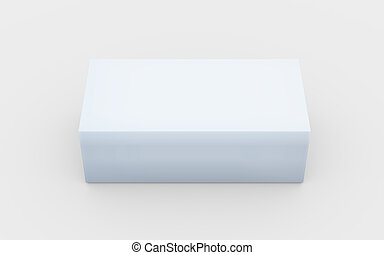 solid pure white box top view - white cardboard material of...