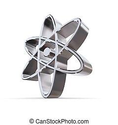 Solid Shiny Atomic-Nuclear Symbol - shiny metallic...
