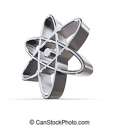 shiny metallic atomic/nuclear symbol of silver/chrome
