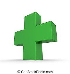 Solid Shiny Green Cross - shiny green 3d symbol of a cross