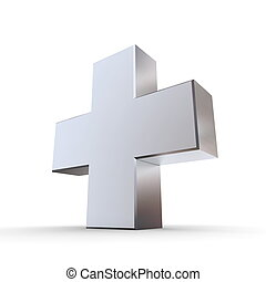 Solid Shiny Metallic Cross - shiny metallic 3d symbol of a...