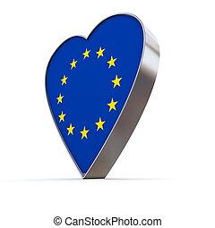 Solid Shiny Metallic Heart - Flag of European Union - shiny...