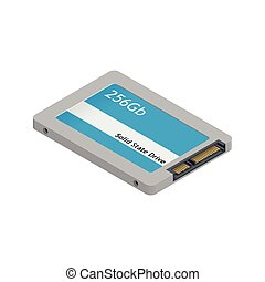 Solid state drive detailed isometric icon
