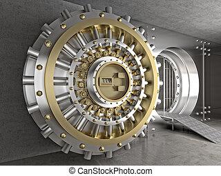 solid vault - 3d image of classic vault door