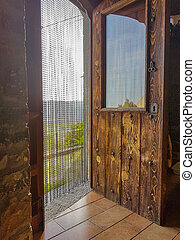 Solid wood door with antique curtain