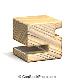 Solid wooden cube font Number 5 FIVE 3D