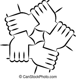 Five Hands Holding Each Other Symbolizing Unity.