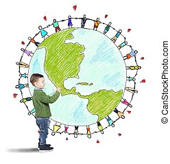 Solidarity world of a child - Child draws world with people...
