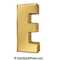 solide, alphabet, e, lettre, or