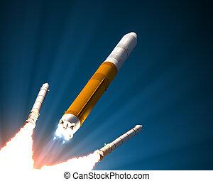 solide, boosters, fusée, séparation