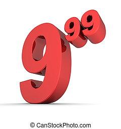 solide, coût, -, nombre, étiquette, brillant, rouges, 9.99