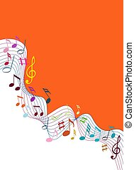 solide, color, notas, música, plano de fondo, blanco