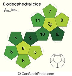 solide, dodecahedral, platonic, dés, gabarit