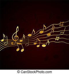 solide, gold, notizen, musik, hintergrund, schwarz