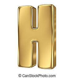 solide, h, lettre, or, alphabet
