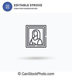 solide, isolé, vecteur, logo, lisa, icône, illustration., pictogramme, blanc, rempli, plat, presentation., signe, mona