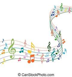 solide, kolor, notatki, muzyka, tło, biały