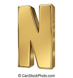 solide, lettre alphabet, or, n
