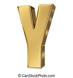 solide, lettre alphabet, or, y