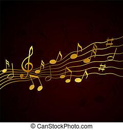 solide, oro, note, musica, fondo, nero