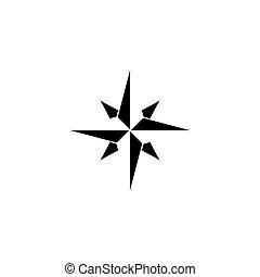 solide, rose, compas, icône, navigation, vent