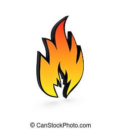 solide, symbole, flamme