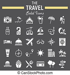 solide, voyage, collection, symboles, ensemble, tourisme, icône