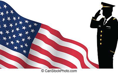 solider, ficar, frente, bandeira e. u., saudando