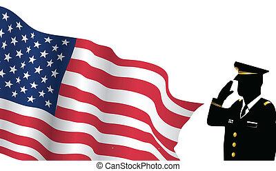 solider, posición, delante de, bandera de los e.e.u.u, saludar