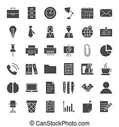 solido, affari tela, icone ufficio