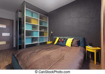 solido, moderno, privato, colori, camera letto, interno