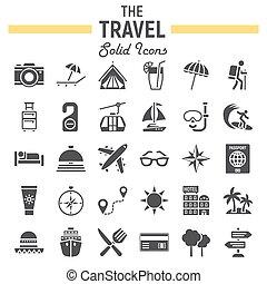 solido, viaggiare, collezione, simboli, set, turismo, icona