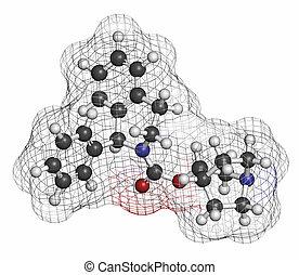 Solifenacin overactive bladder drug molecule. Atoms are...