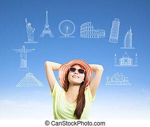 solig, kvinna, backpacker, med, världsomfattande, ryktbar milstolpe