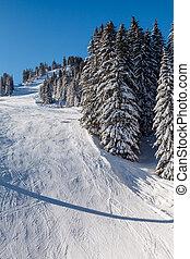 solig, skida sluttar, nära, megeve, in, franska alps,...