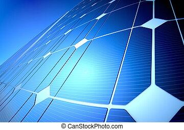 solig, sol, blå, glänsande, panel, närbild