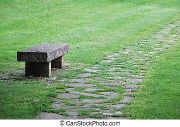 solitário, banco pedra