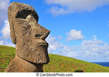 solitário, moai, ligado, ilha páscoa