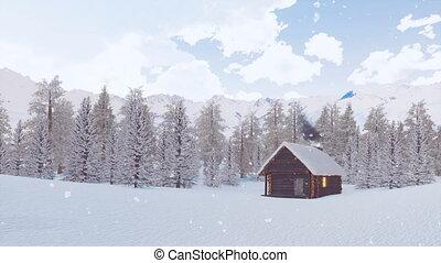 solitaire, bûche, neigeux, hutte, jour, montagnes, hiver