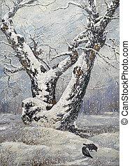solitaire, bois, chêne, hiver