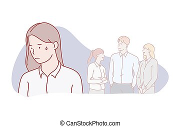 solitaire, concept., relation, banni, social, isolement