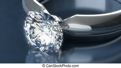 Diamond Rings on Blue Background - Solitaire Diamond Rings...