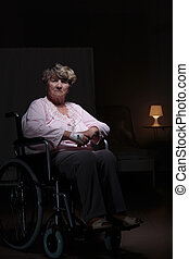 solitaire, femme, fauteuil roulant, séance
