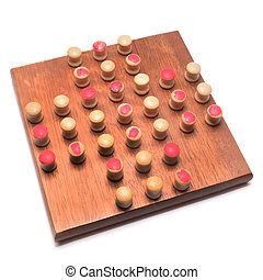 solitaire game - solitaire wooden board game isolated on...